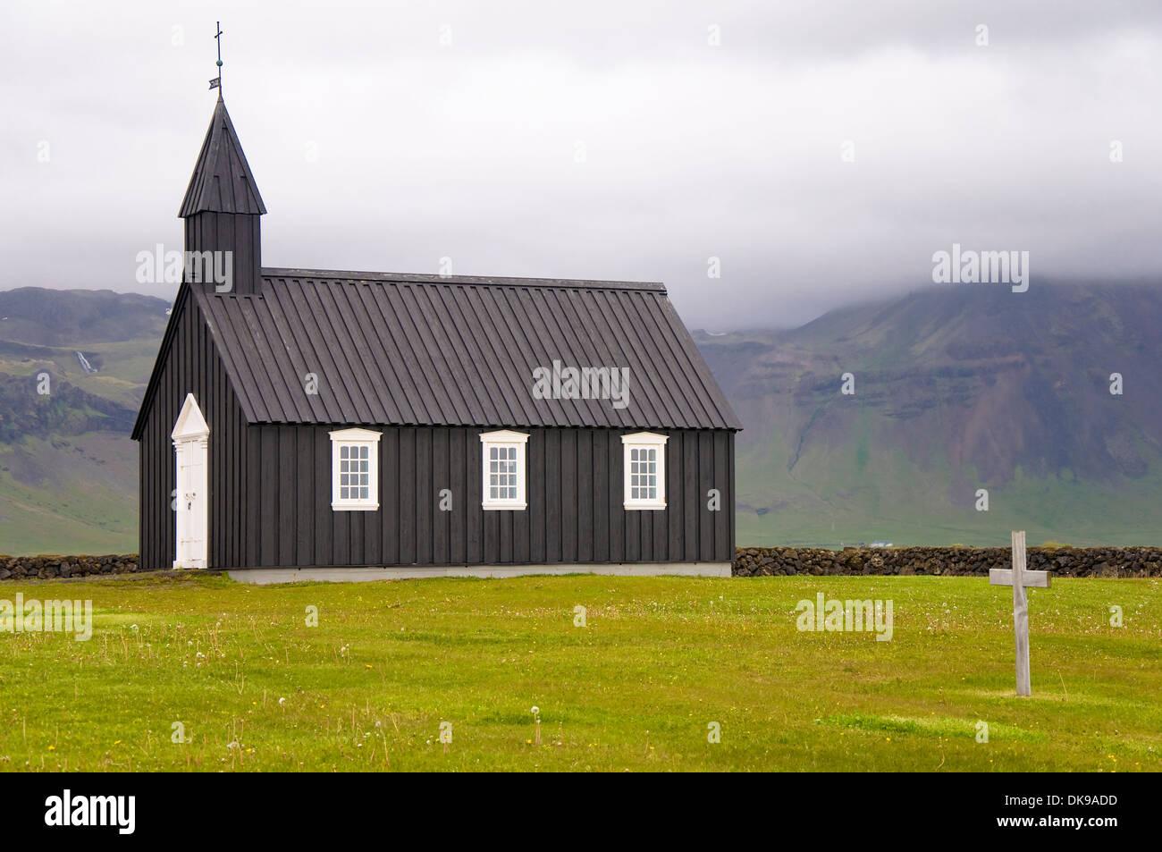Wooden Church, Budir, Snaefellsnes, Iceland - Stock Image