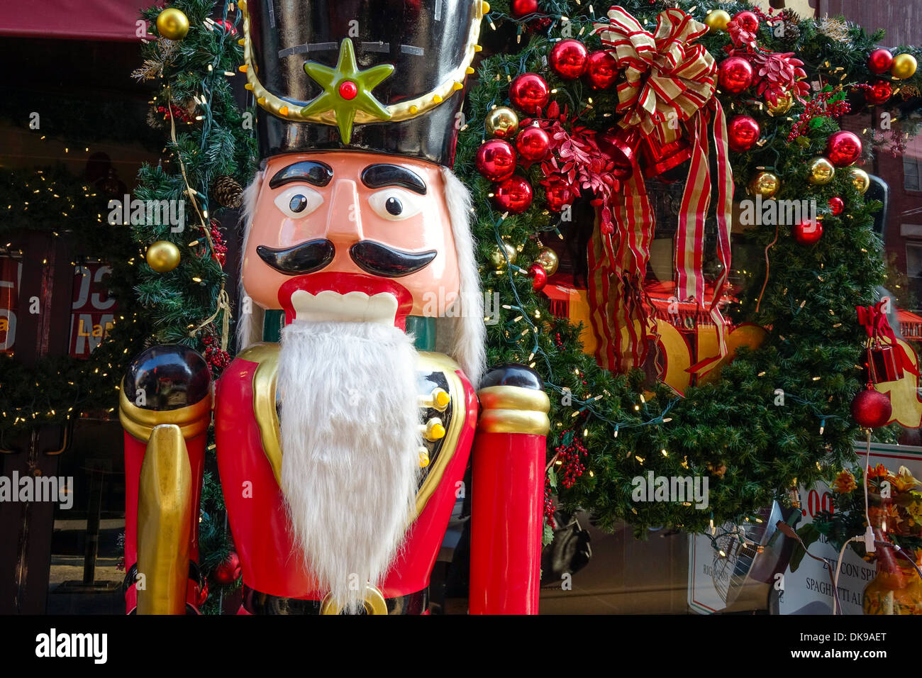 christmas toy soldier and fur tree outside nyc restaurant stock image - Outdoor Toy Soldier Christmas Decorations
