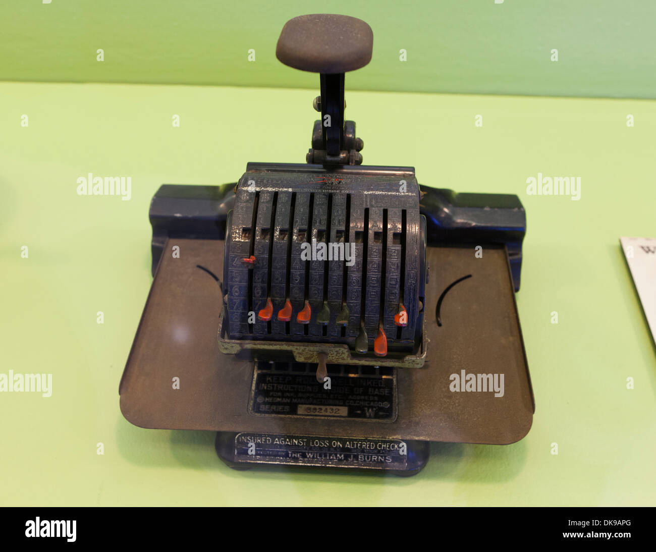 vintage F&E Lightning Check Writer machine, c. 1920 - Stock Image