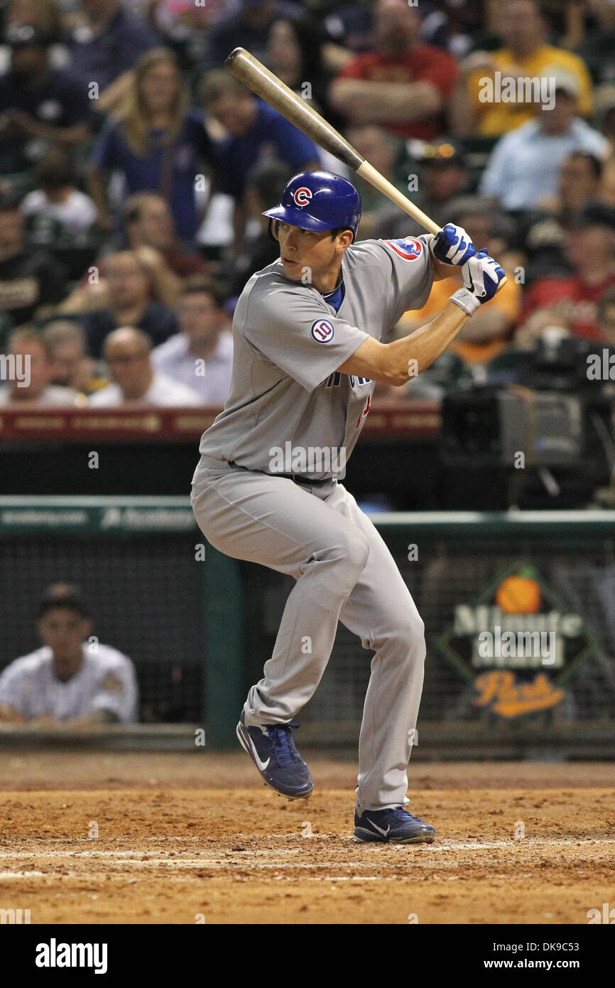 Aug. 16, 2011 - Houston, Texas, U.S - Chicago Cubs outfielder Tyler Colvin (21) steps into the next pitch and hits a homer. The Houston Astros beat the Chicago Cubs in the second game of the series 6-5 on a walk off Grand Slam by Houston Astros outfielder Brian Bogusevic (19) at Minute Maid Park in Houston, TX. (Credit Image: © Luis Leyva/Southcreek Global/ZUMAPRESS.com) - Stock Image
