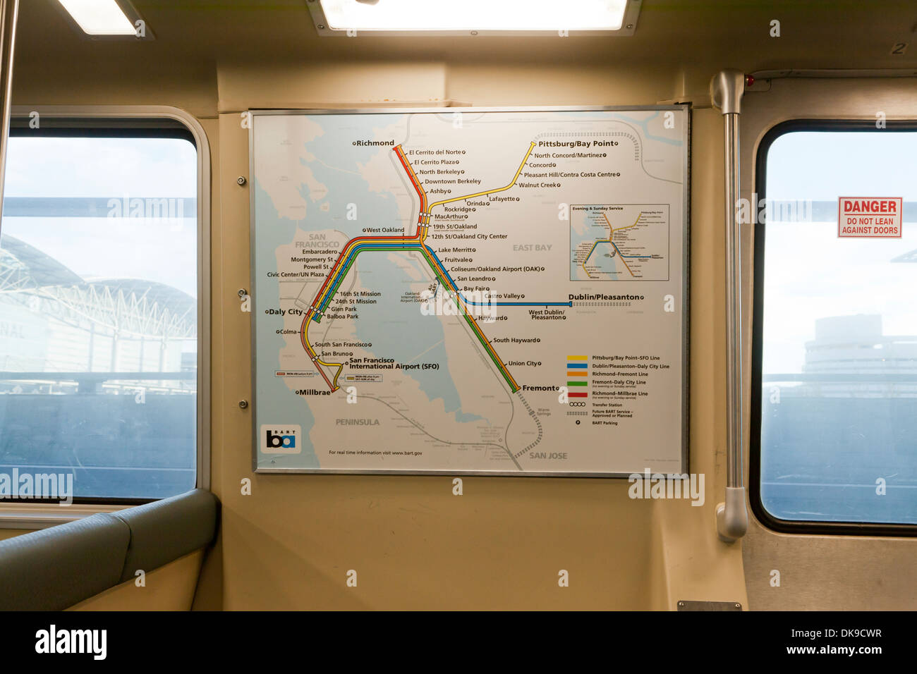 BART (Bay Area Rapid Transit) train route map posted in car - Stock Image