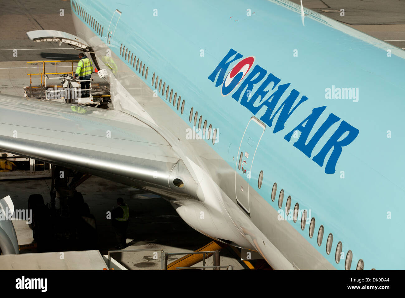 Korean Air Boeing 777-200 plane - San Francisco International Airport - California USA - Stock Image