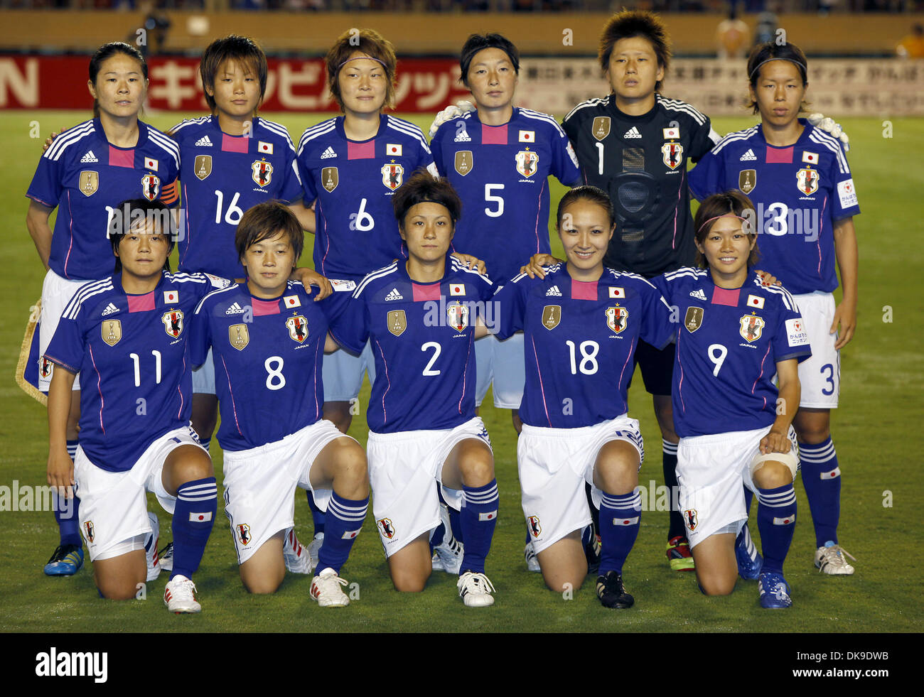 Aug. 19, 2011 - Tokyo, Japan - Players of Japan Women's National Team pose for photographs during the charity match for the earthquake and tsunami victims at the National Stadium in Tokyo, Japan. Japan Women's National Team defeated Nadeshiko League Team by 3-2. (Credit Image: © Shugo Takemi/Jana Press/ZUMAPRESS.com) - Stock Image