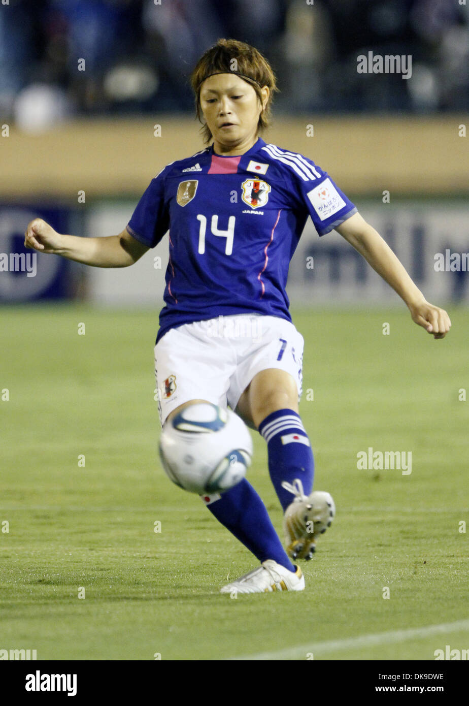 Aug. 19, 2011 - Tokyo, Japan - MEGUMI KAMIONOBE of Japan Women's National Team in action during the charity match for the earthquake and tsunami victims at the National Stadium in Tokyo, Japan. Japan Women's National Team defeated Nadeshiko League Team by 3-2. (Credit Image: © Shugo Takemi/Jana Press/ZUMAPRESS.com) - Stock Image