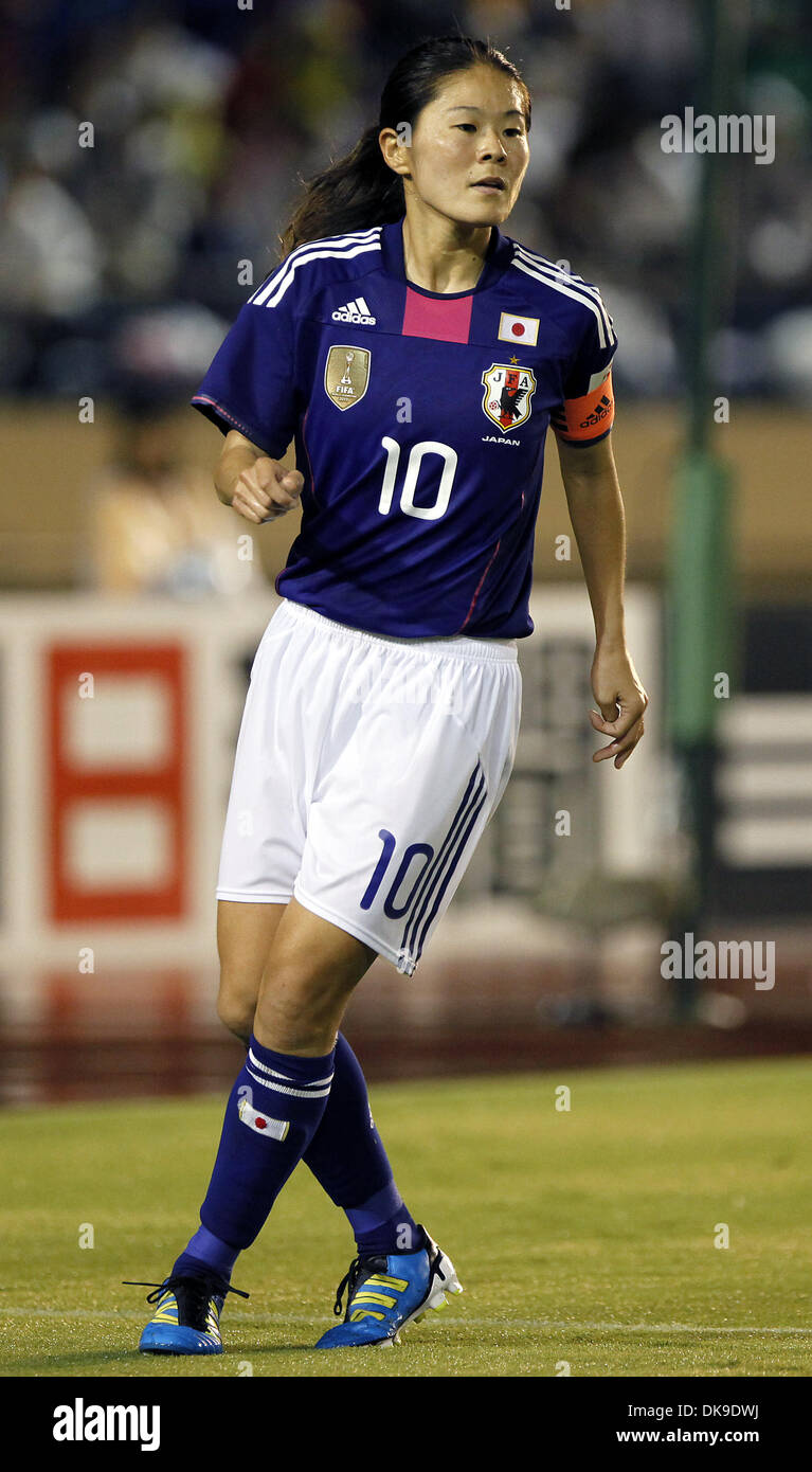 Aug. 19, 2011 - Tokyo, Japan - HOMARE SAWA of Japan Women's National Team in action during the charity match for the earthquake and tsunami victims at the National Stadium in Tokyo, Japan. Japan Women's National Team defeated Nadeshiko League Team by 3-2. (Credit Image: © Shugo Takemi/Jana Press/ZUMAPRESS.com) - Stock Image