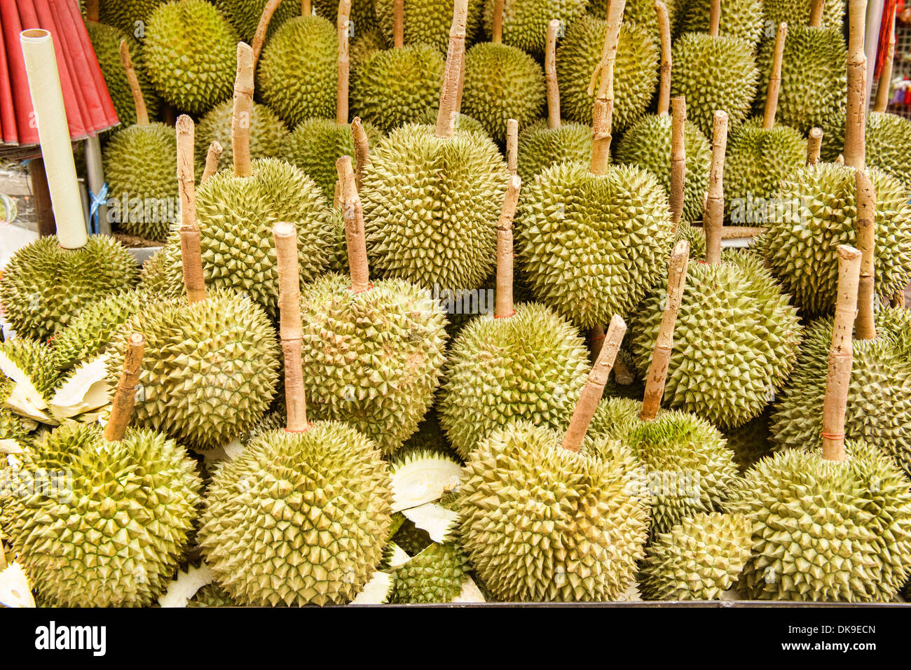 durian for sale in Chinatown in Bangkok, Thailand - Stock Image