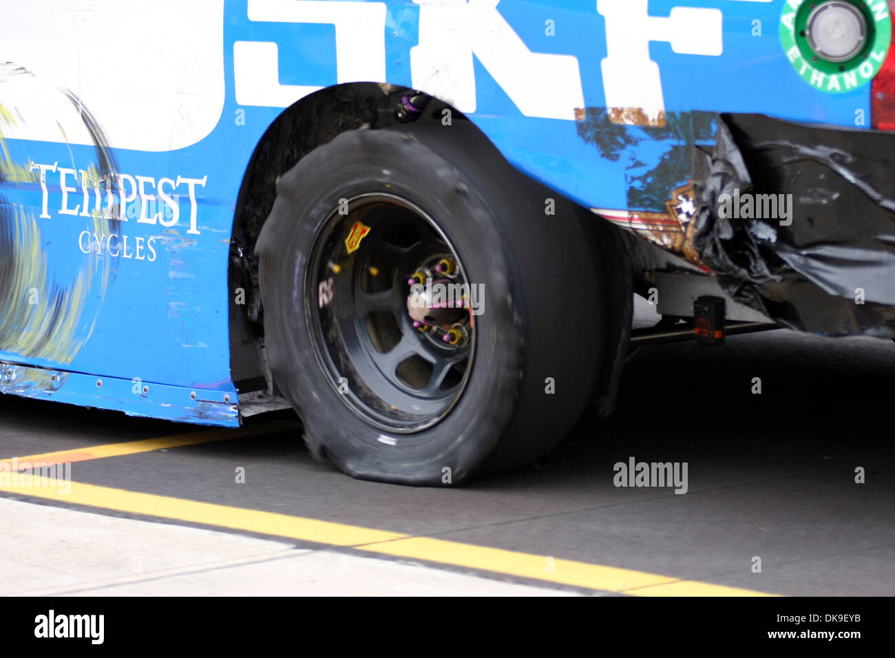 Aug. 20, 2011 - Brooklyn, Michigan, U.S - The #22 SKF Chevy comes down pit road with what remains of the left rear tire at Michigan International Speedway. (Credit Image: © Alan Ashley/Southcreek Global/ZUMAPRESS.com) - Stock Image