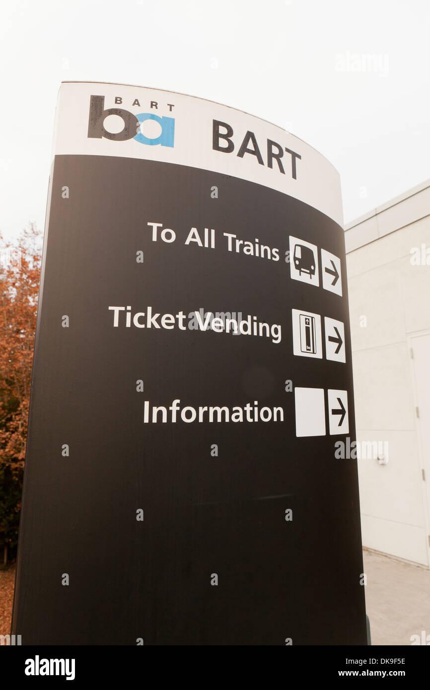 BART train sign - San Francisco, California USA - Stock Image