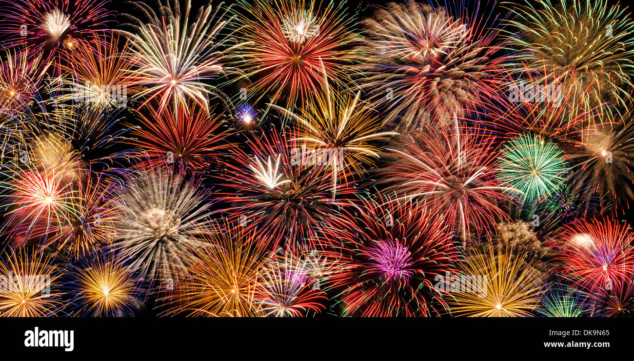 Festive and colorful fireworks display - Stock Image