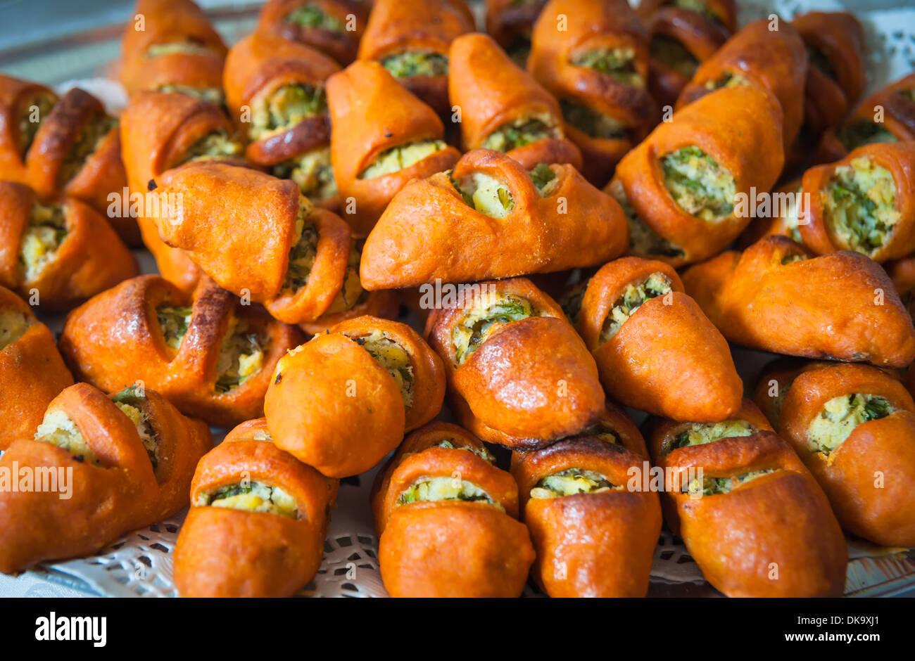 Delicious Turkish pogaca savory mashed patatoes pastry Stock Photo