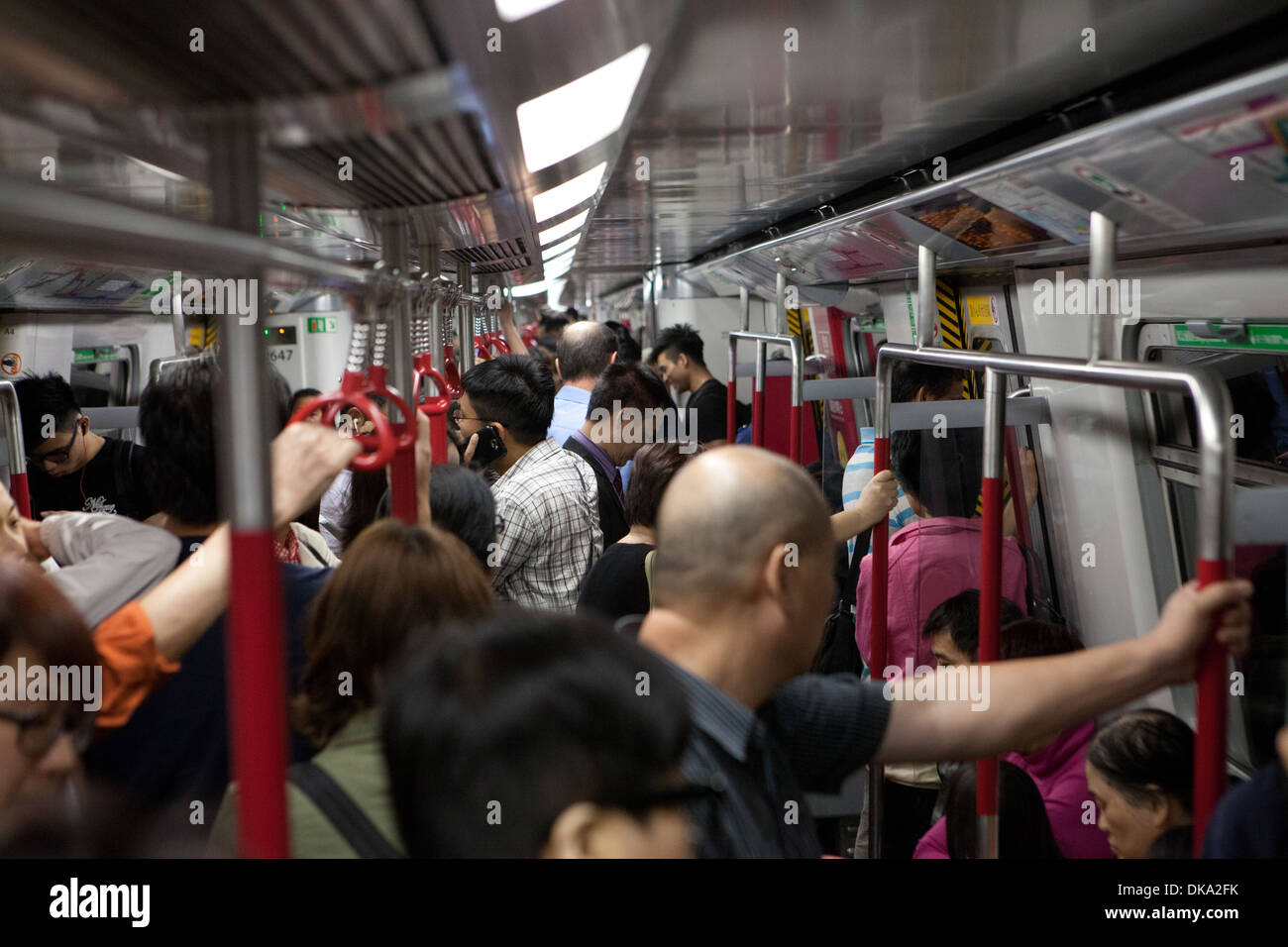 Internal view of Hong Kong Underground MTR train - Mass Transit Railway. - Stock Image