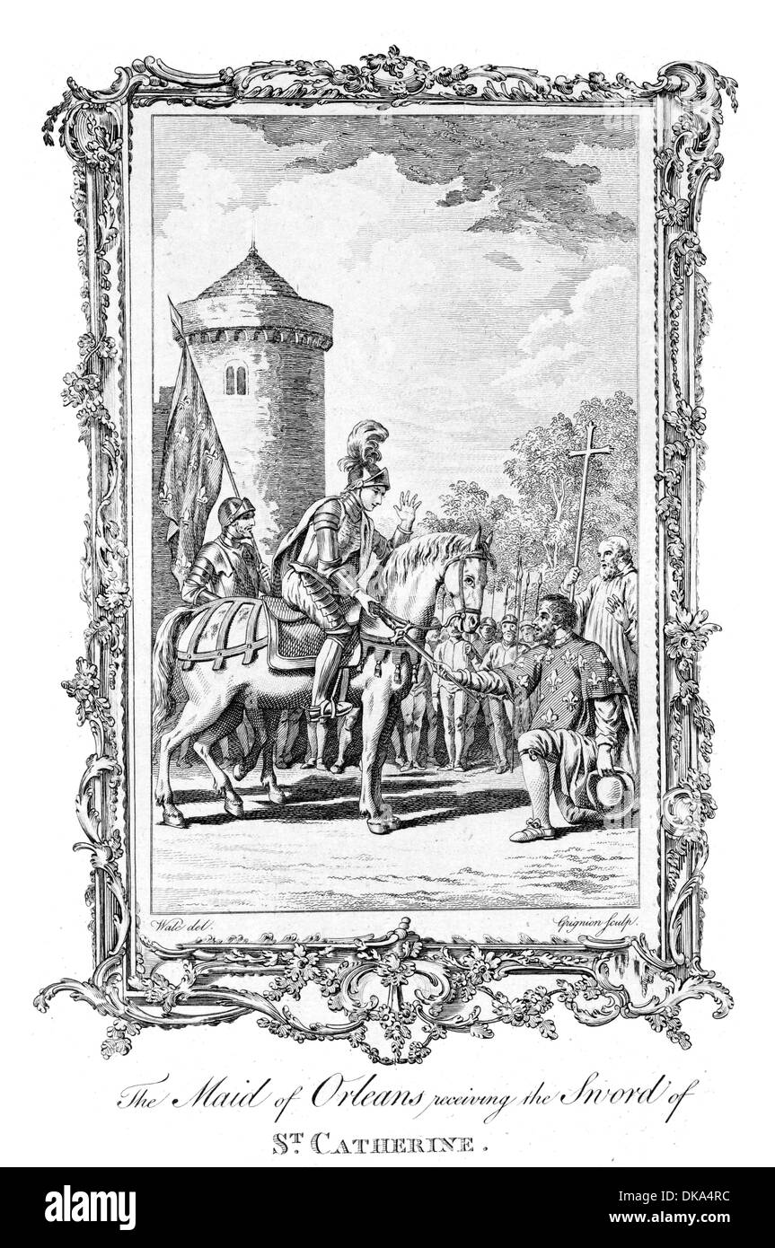 The Maid of Orleans Joan of Arc receiving the Sword of Saint Catherine Stock Photo