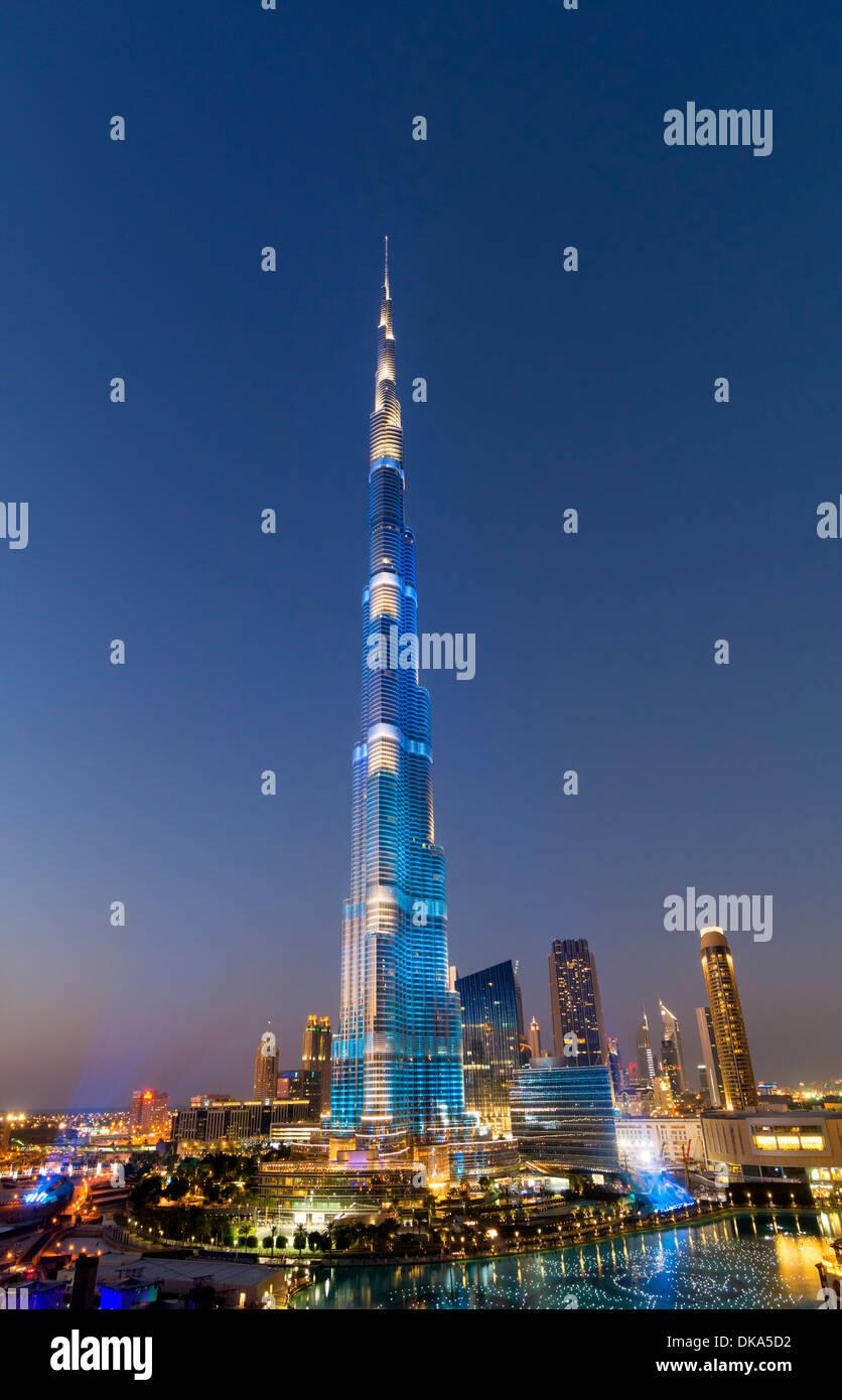 Burj Khalifa tower floodlit in blue during National Day celebrations on 2 1 December 2013 in Dubai United Arab Emirates Stock Photo