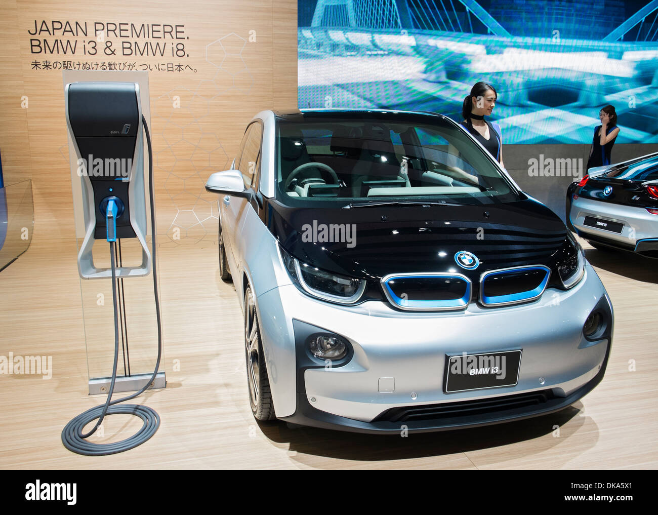Bmw I3 Electric Plug In Car At Tokyo Motor Show 2013 In Japan Stock