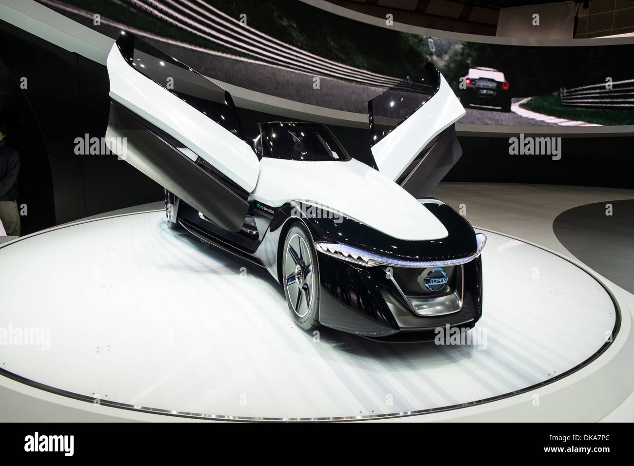 Nissan Bladeglider concept electric car at Tokyo Motor Show 2013 in Japan Stock Photo