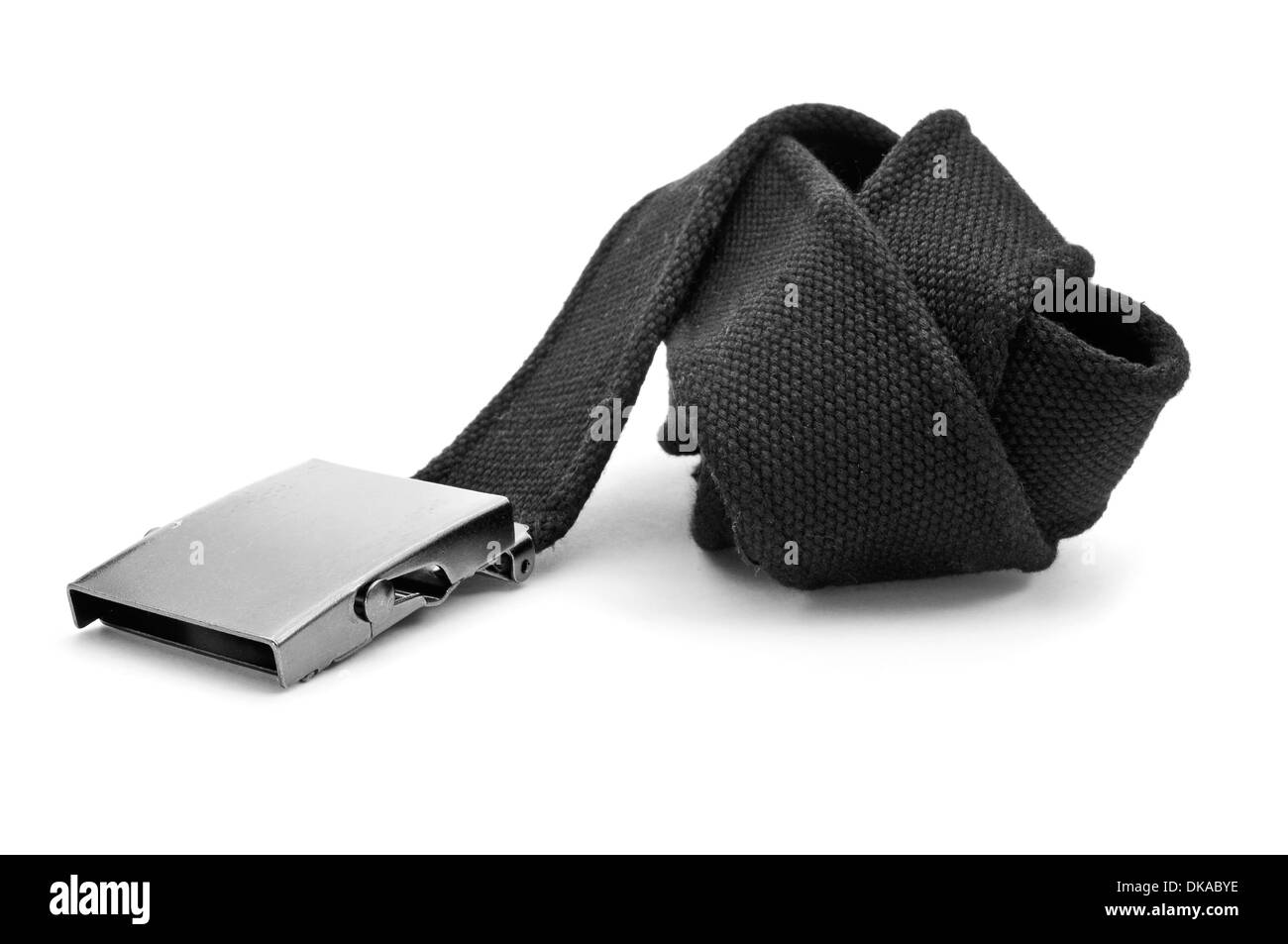 an adjustable black belt with a box-frame buckle on a white background - Stock Image