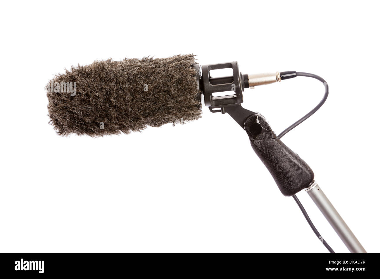 Close-up of a fluffy windshield on a boom microphone against a white background - Stock Image