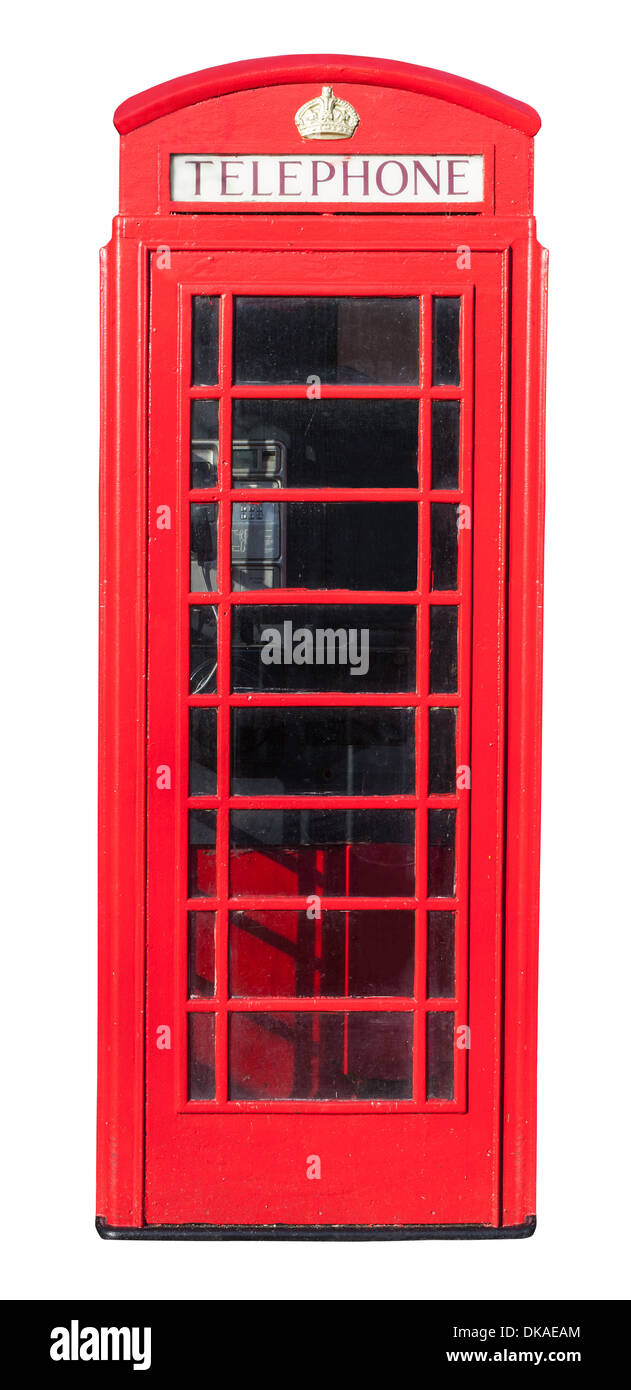 Red telephone box isolated on white with a clipping path - Stock Image