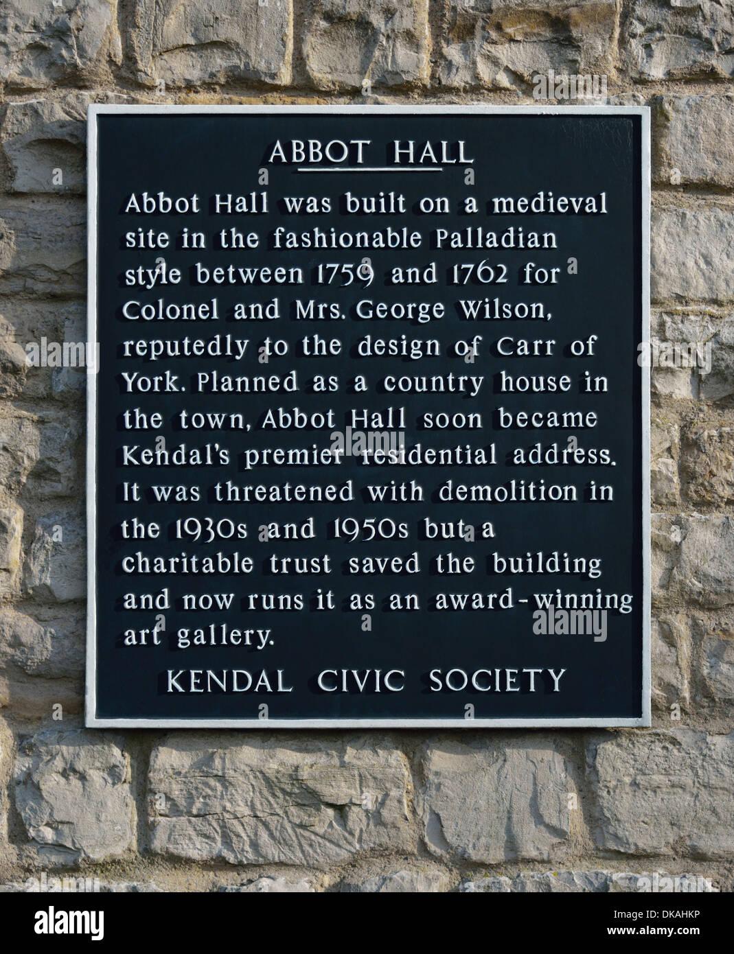 Descriptive plaque. Abbot Hall, Kendal, Cumbria, England, United Kingdom, Europe. - Stock Image