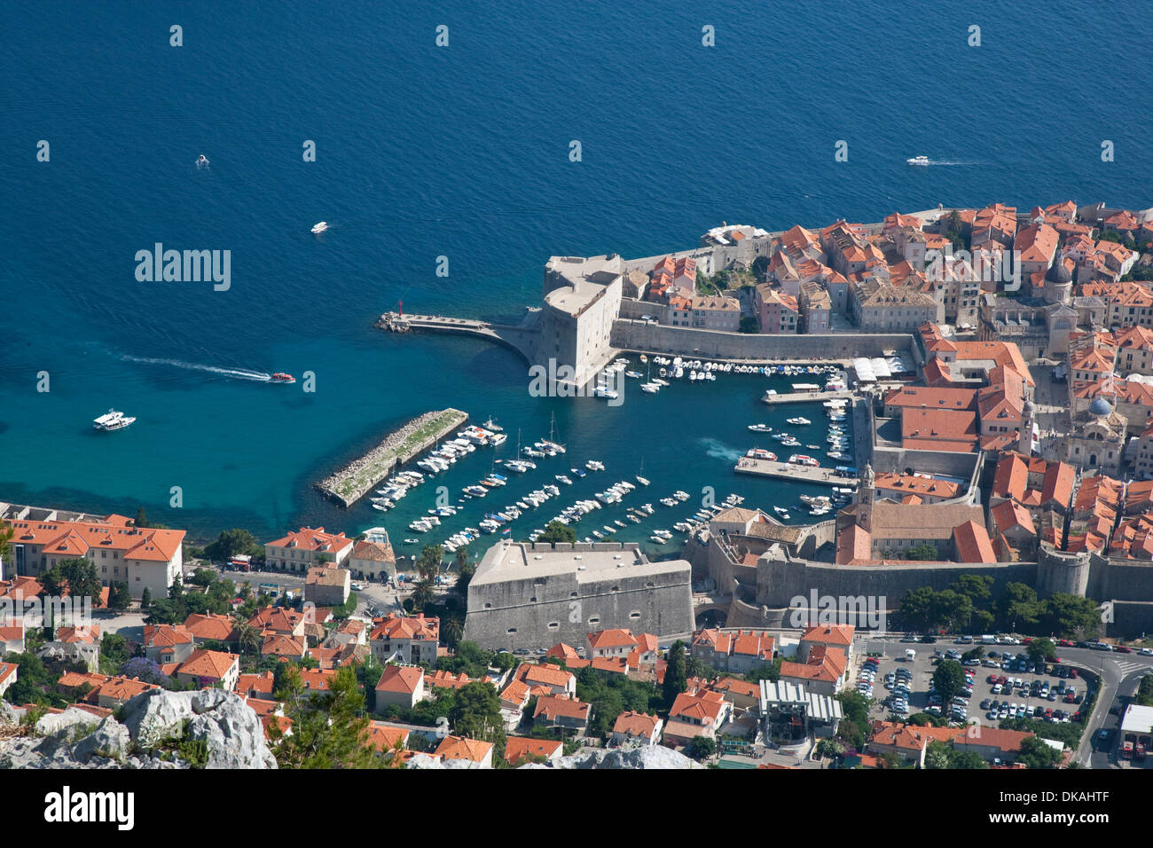 Dubrovnik, Croatia. A view from the cable car looking down onto the old town - Stock Image