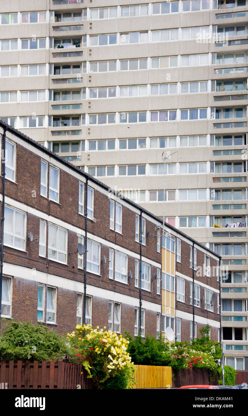 Council housing tower and flats in east London - Stock Image