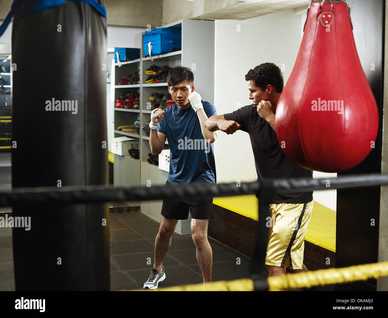Boxers warming up in changing room - Stock Image