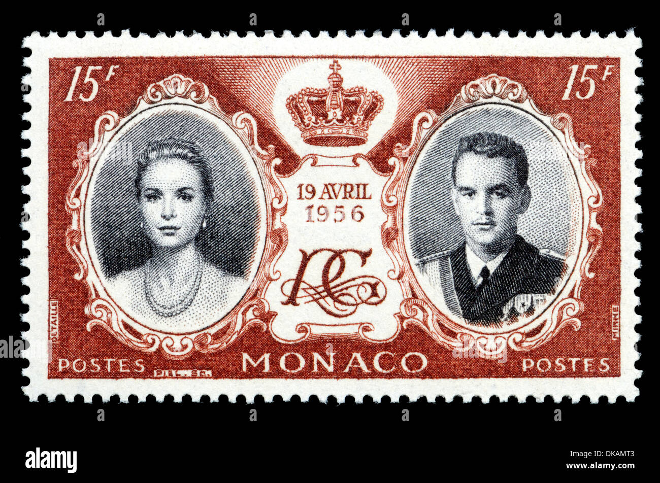 Monaco postage stamp commemorating the marriage of Prince Rainier III and Grace Kelly in 1956 - Stock Image