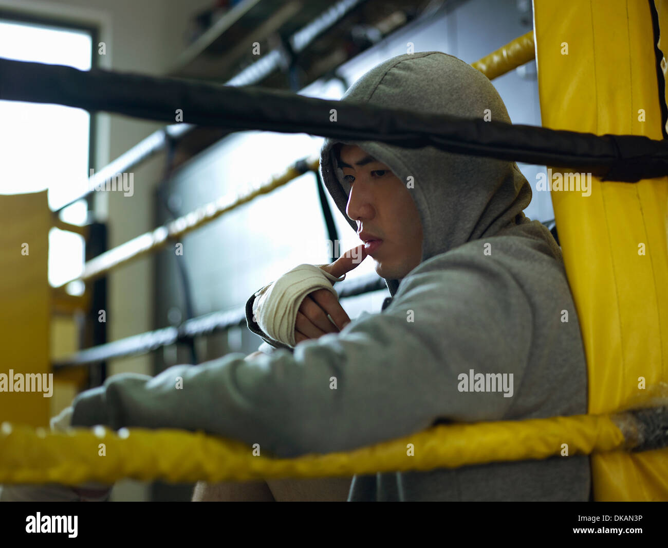 Boxer sitting in corner of ring wearing hooded top - Stock Image