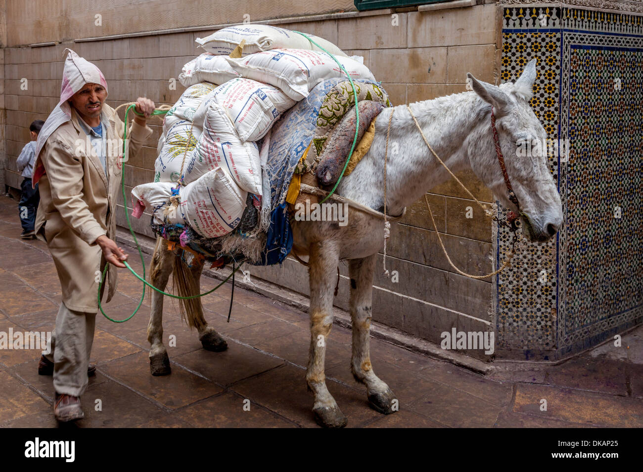 Street Scene in The Medina (Old City), Fez, Morocco - Stock Image