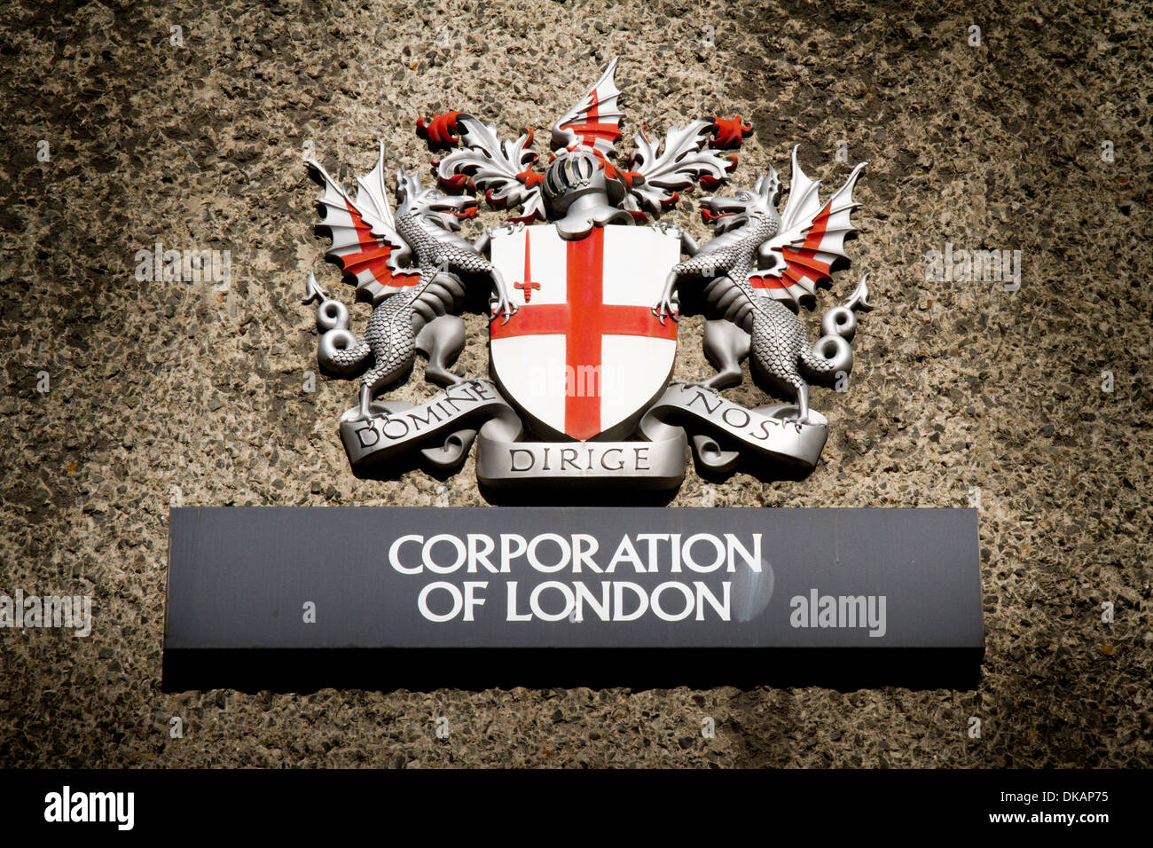 Corporation of London, Coat of Arms wall plaque in the City of London - Stock Image