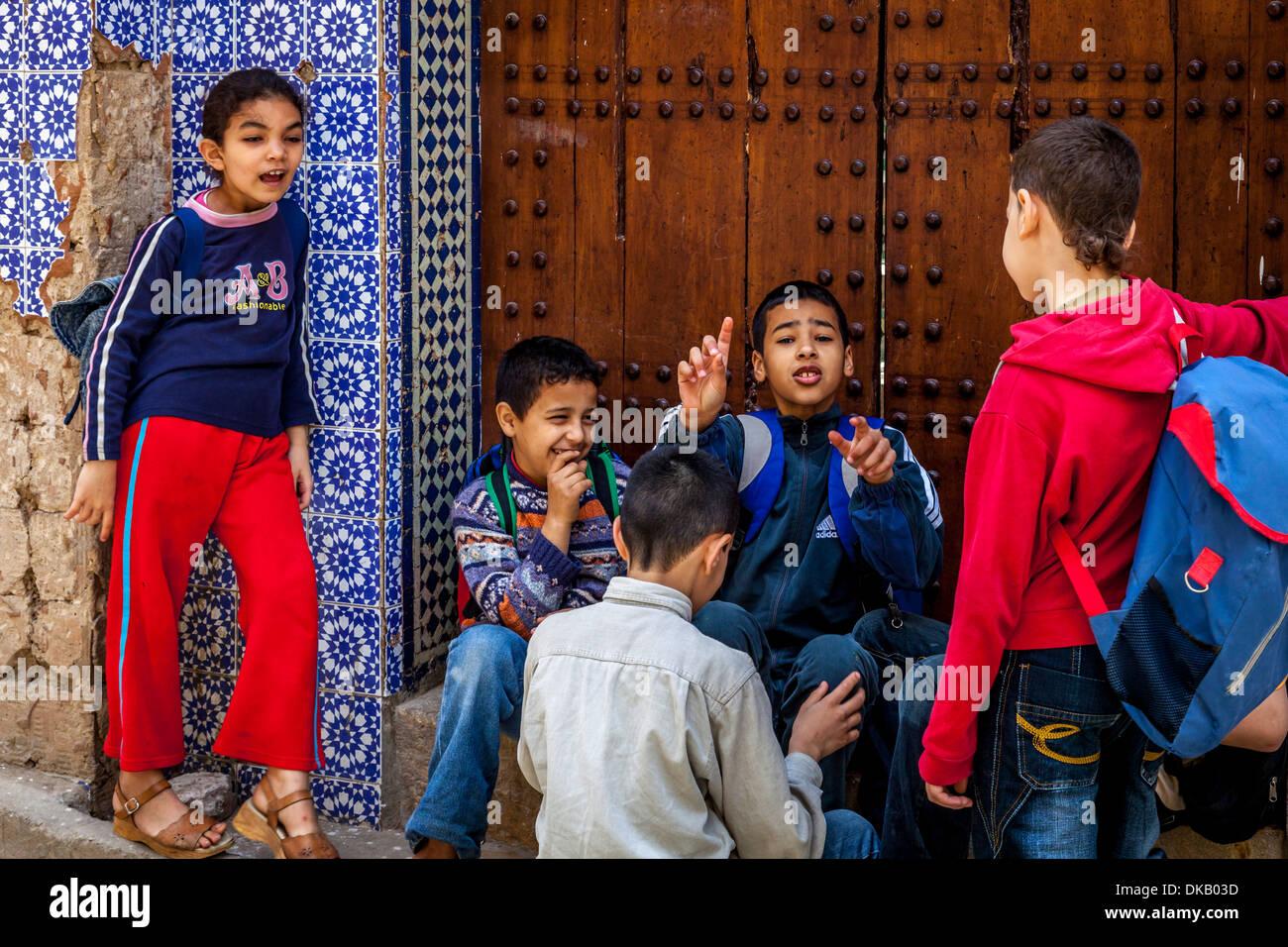 Local Schoolchildren, Fez, Morocco - Stock Image