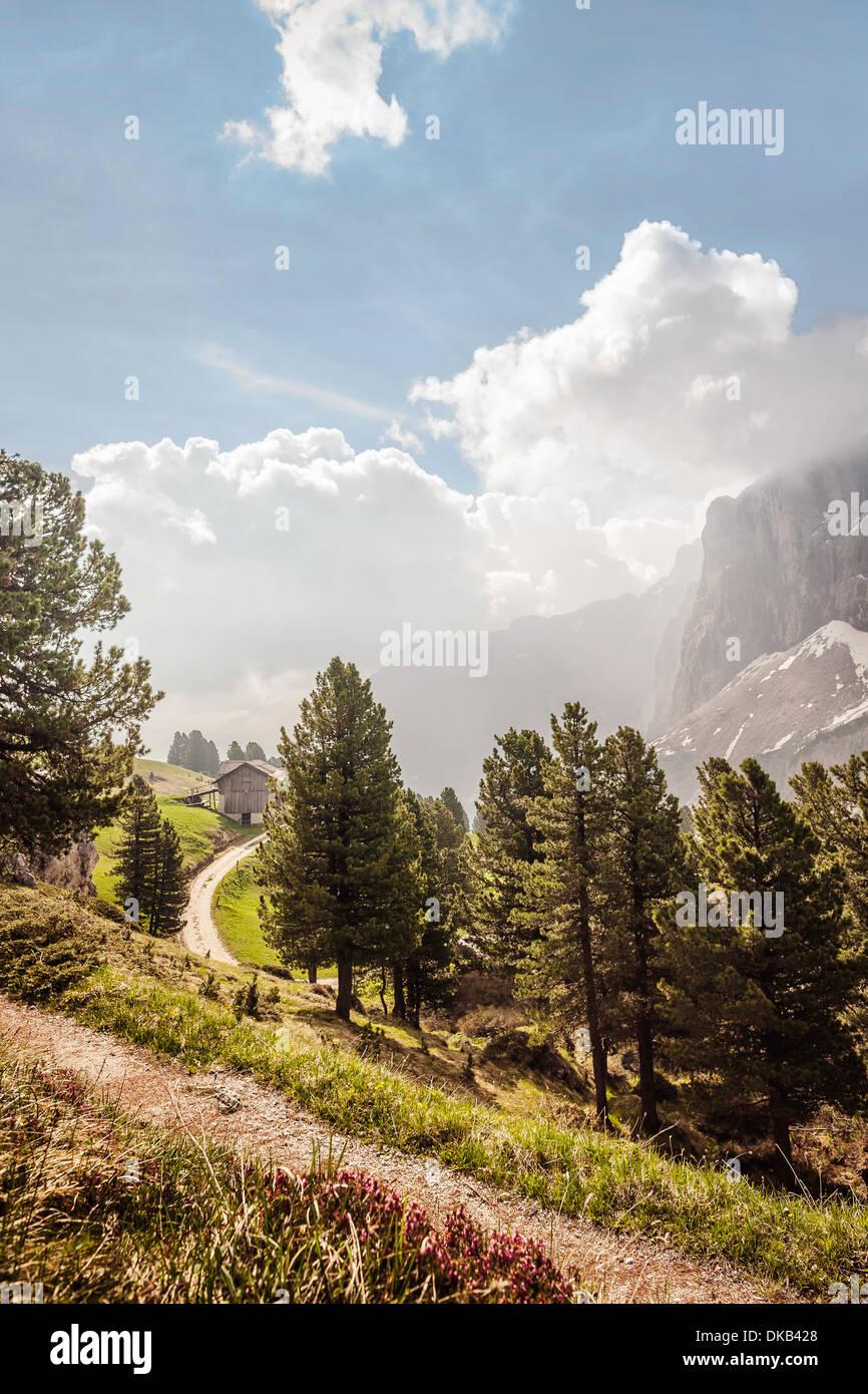 Valley view, Corvara, Alta Badia South Tyrol, Italy Stock Photo