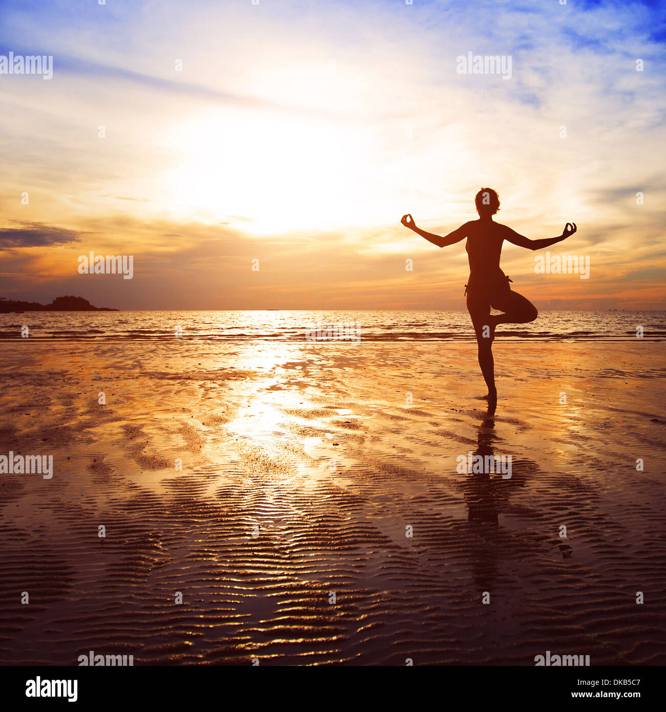 yoga beach background - Stock Image