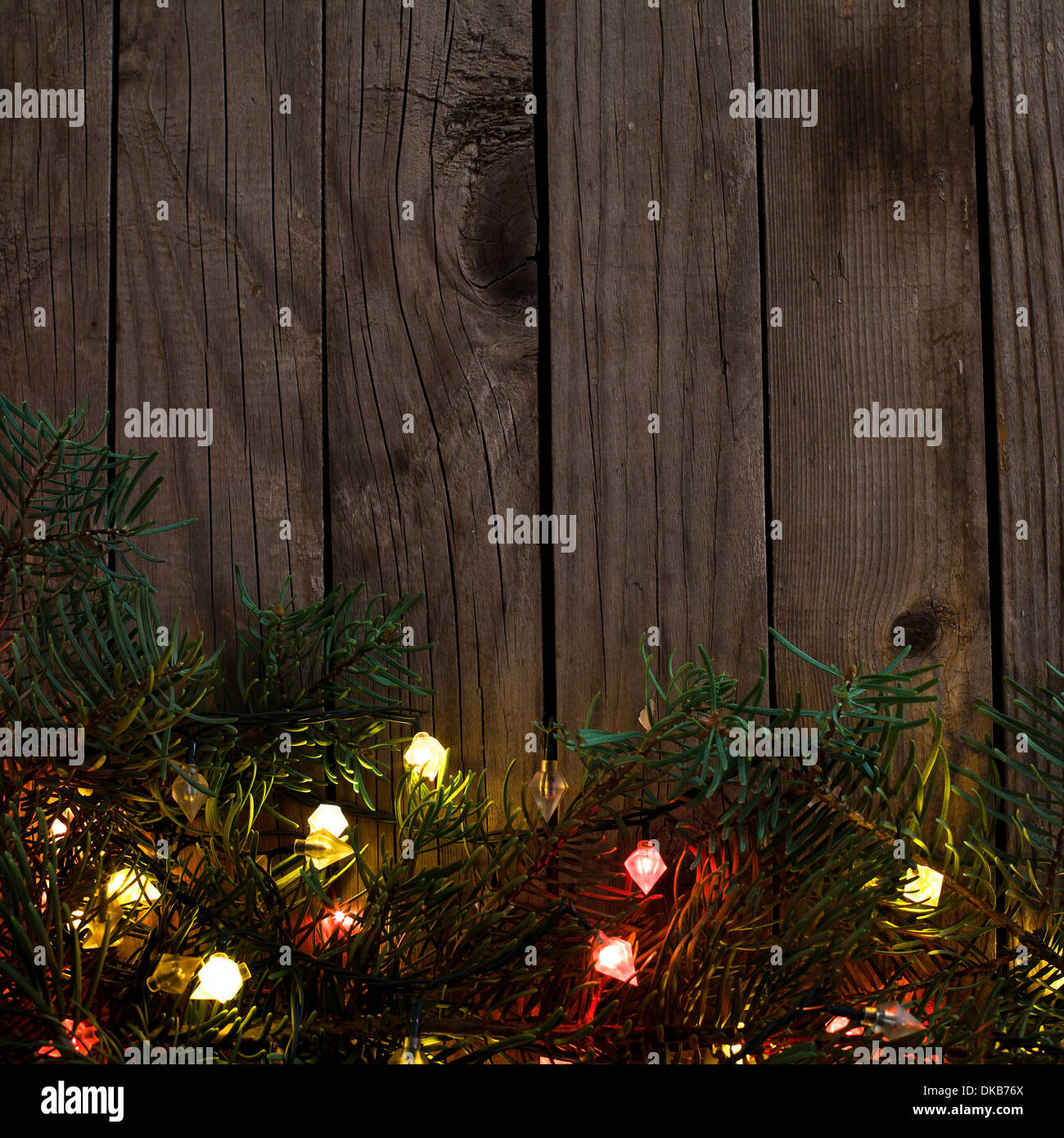 holiday background with christmas lights - Stock Image