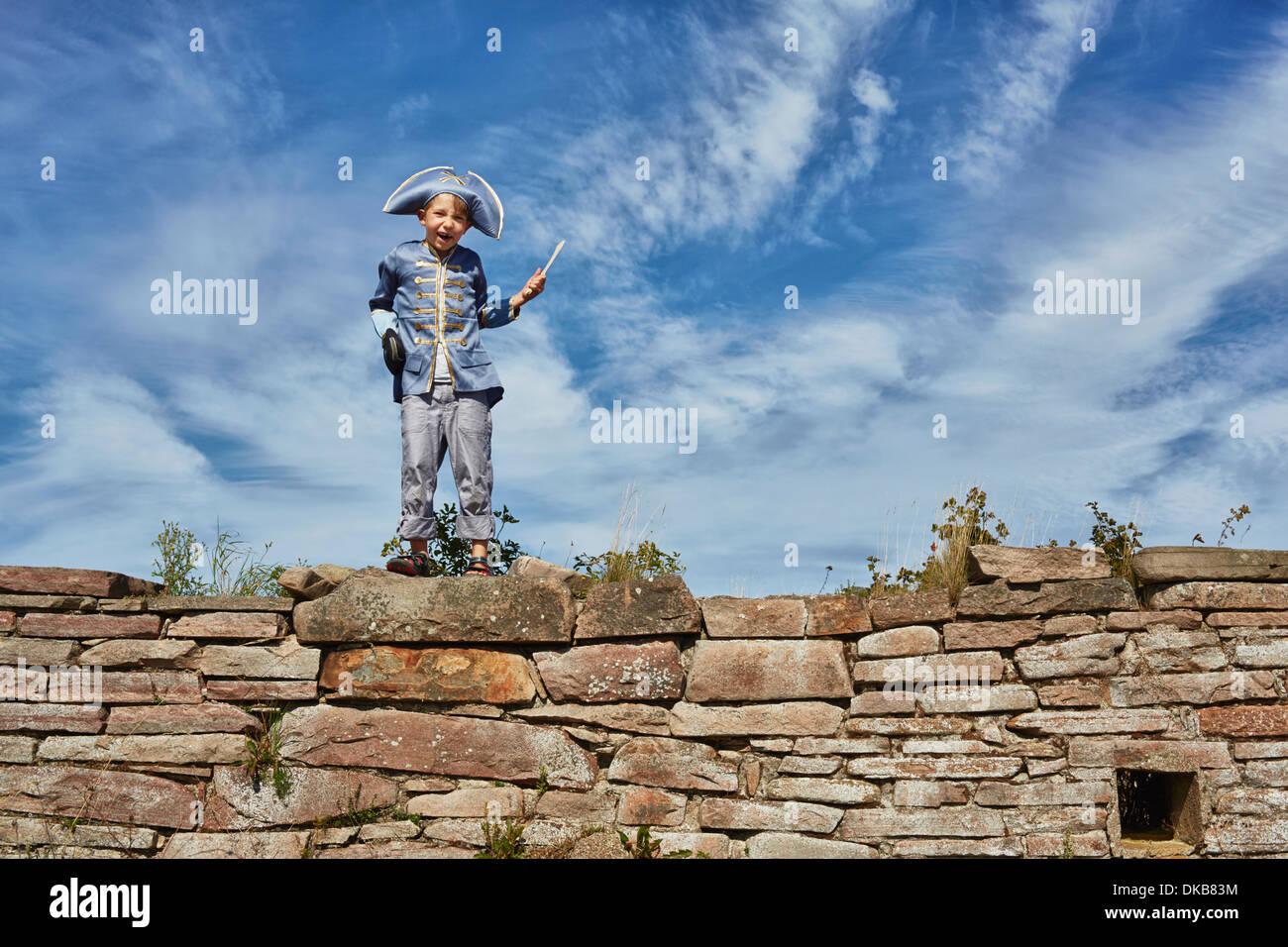 Boy wearing pirate costume, Eggergrund, Sweden - Stock Image