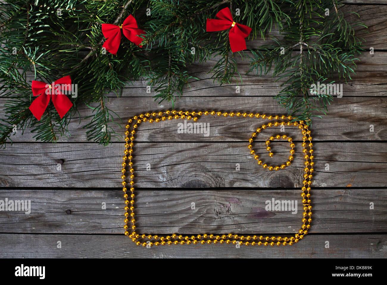 golden frame for christmas greetings - Stock Image