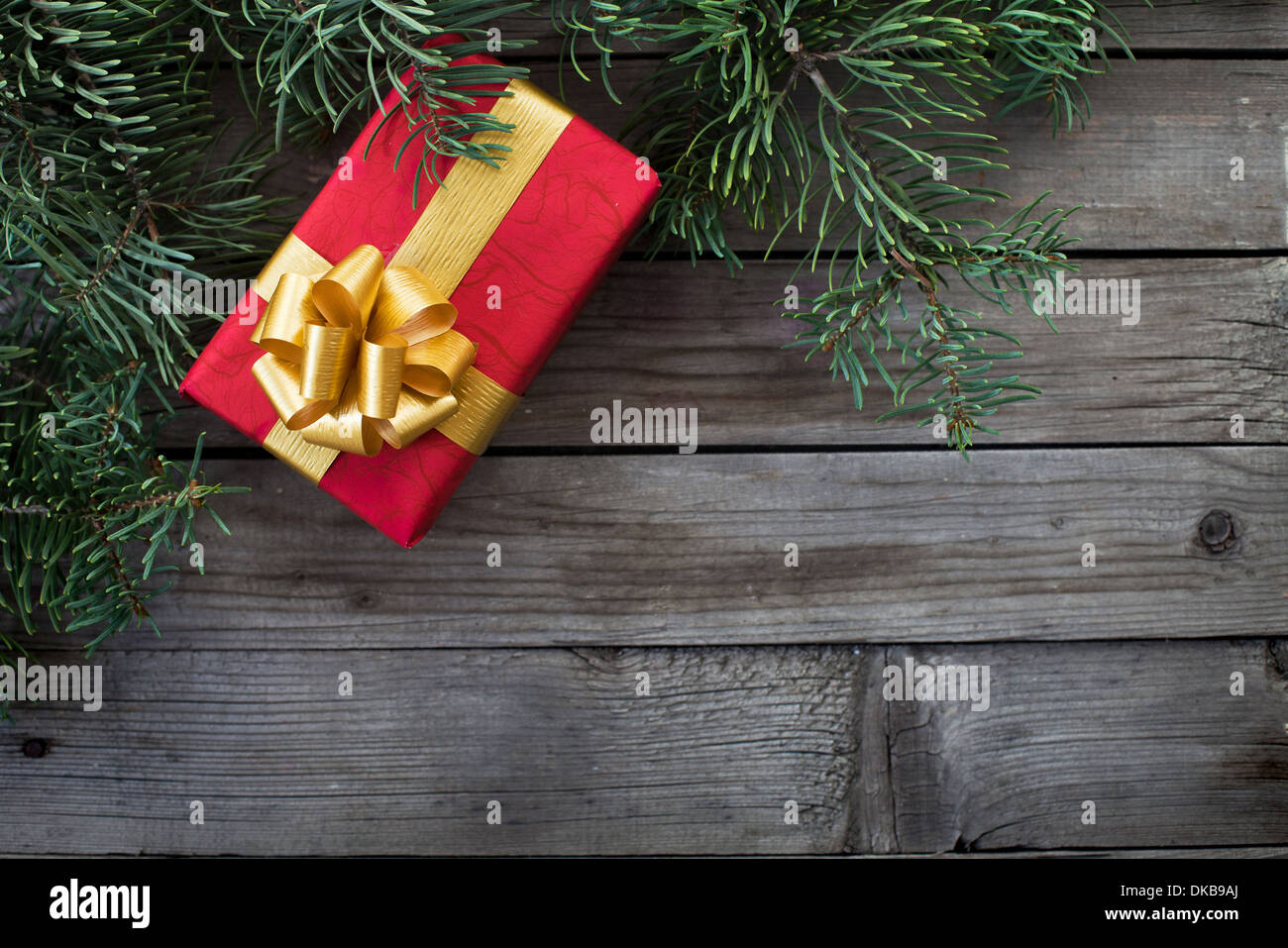 christmas background with the gift - Stock Image