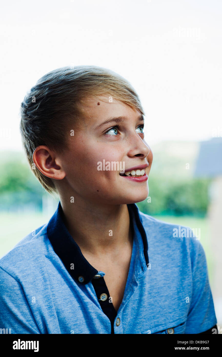 Portrait of teenage schoolboy - Stock Image