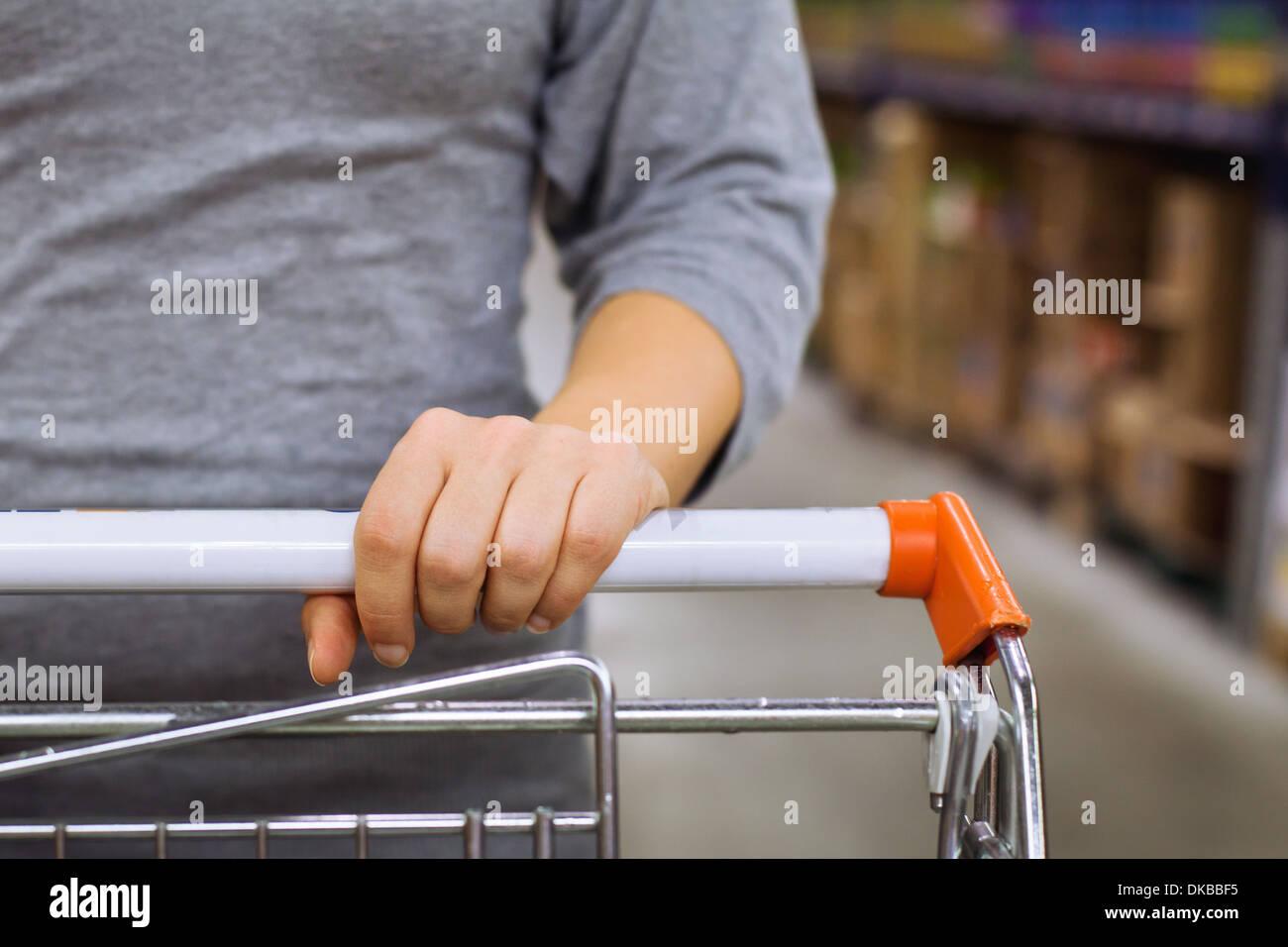 shopping cart in supermarket - Stock Image