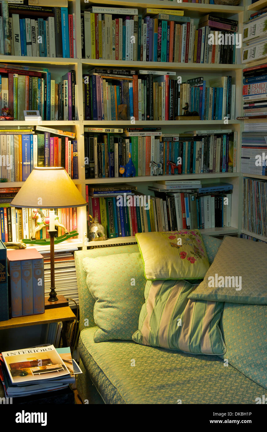 Sitting room and library, UK - Stock Image