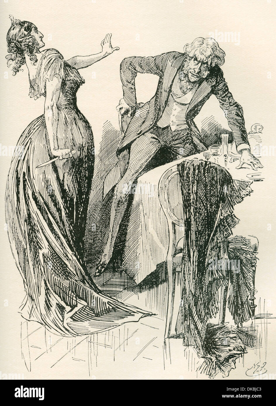Edith and Mr. Carker. Illustration by Harry Furniss for the Charles Dickens novel Dombey and Son. - Stock Image