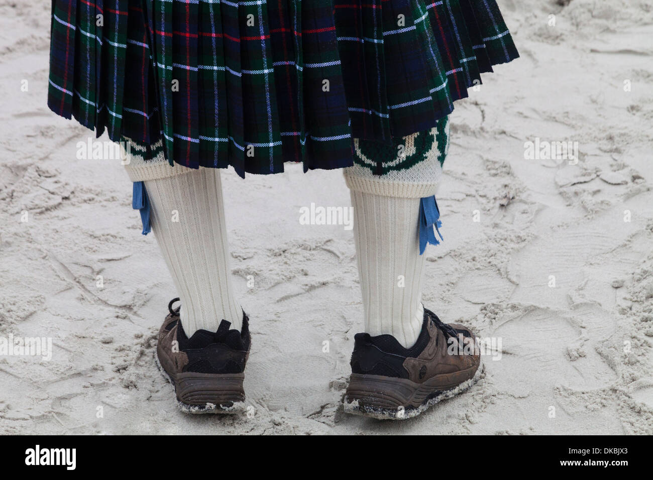 A man in a kilt at Jacksonville Beach, Florida USA during the Celtic Festival - Stock Image