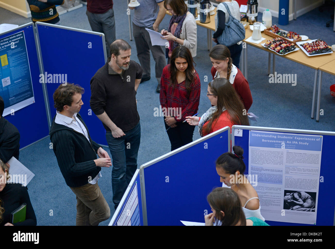 Psychology students present research posters at University of Edinburgh, Scotland. - Stock Image