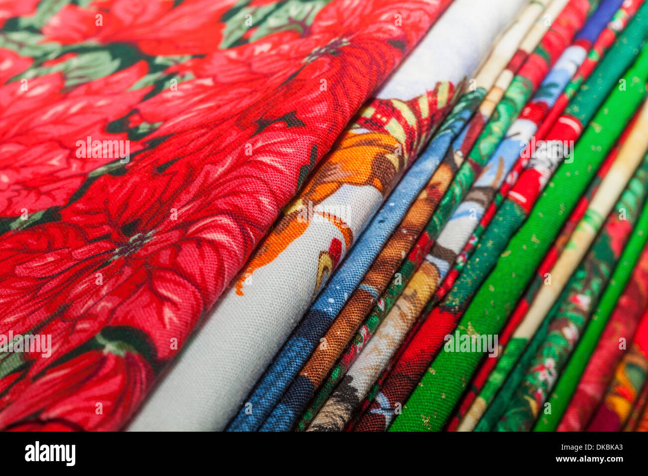 Variety Christmas Quilting Fabric Stock Photos Variety Christmas