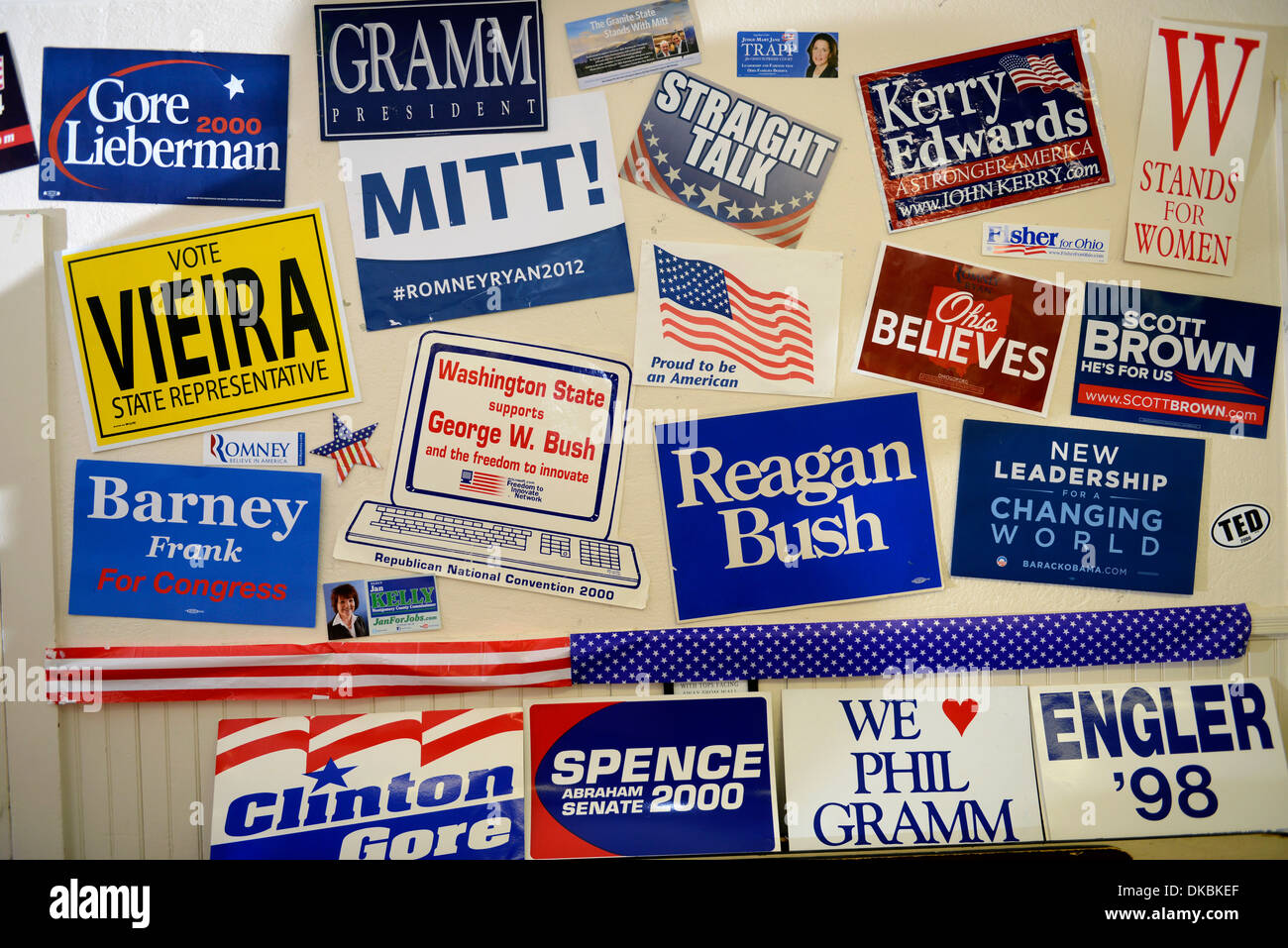 Political stickers at Camp USA, a two week non-partisan camp for middle and high school students interested in politcs. - Stock Image