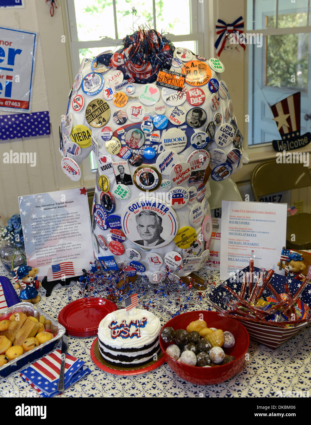 Political memorabilia at Camp USA, a two week non-partisan camp for middle and high school students interested in politcs. - Stock Image