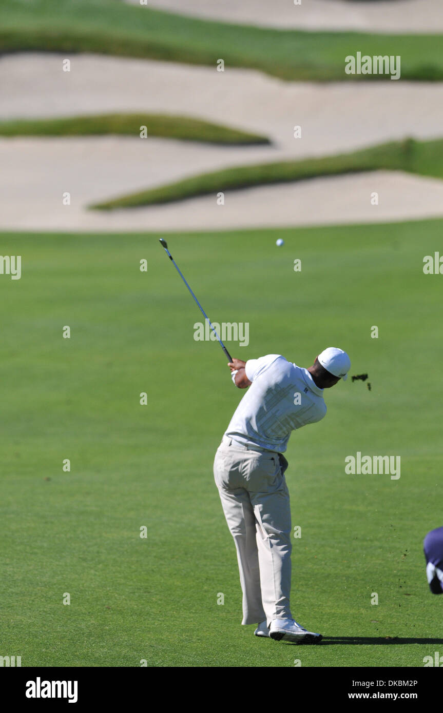 Oct. 8, 2011 - San Martin, California, U.S. - Tiger Woods hits off the fairway during the third round of the Fry's.com Open Golf Tournament at CoredeValle Golf Club in San Martin, CA on Thursday, October 8, 2011. (Credit Image: © Scott Beley/Southcreek/ZUMAPRESS.com) - Stock Image