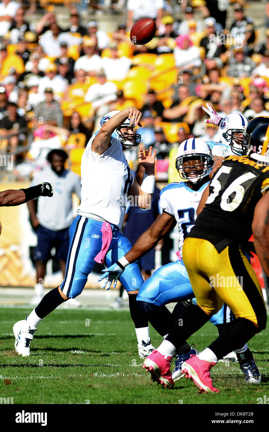 Oct. 9, 2011 - Pittsburgh, PENNSYLVANNIA, U.S - Tennessee Titans quarterback Matt Hasselbeck (8) airs out a pass in the fourth quarter as the Pittsburgh Steelers take on the Tennessee Titans at Heinz Field in Pittsburgh, PA...Steelers defeat the Titans 38-17. (Credit Image: © Dean Beattie/Southcreek/ZUMAPRESS.com) - Stock Image