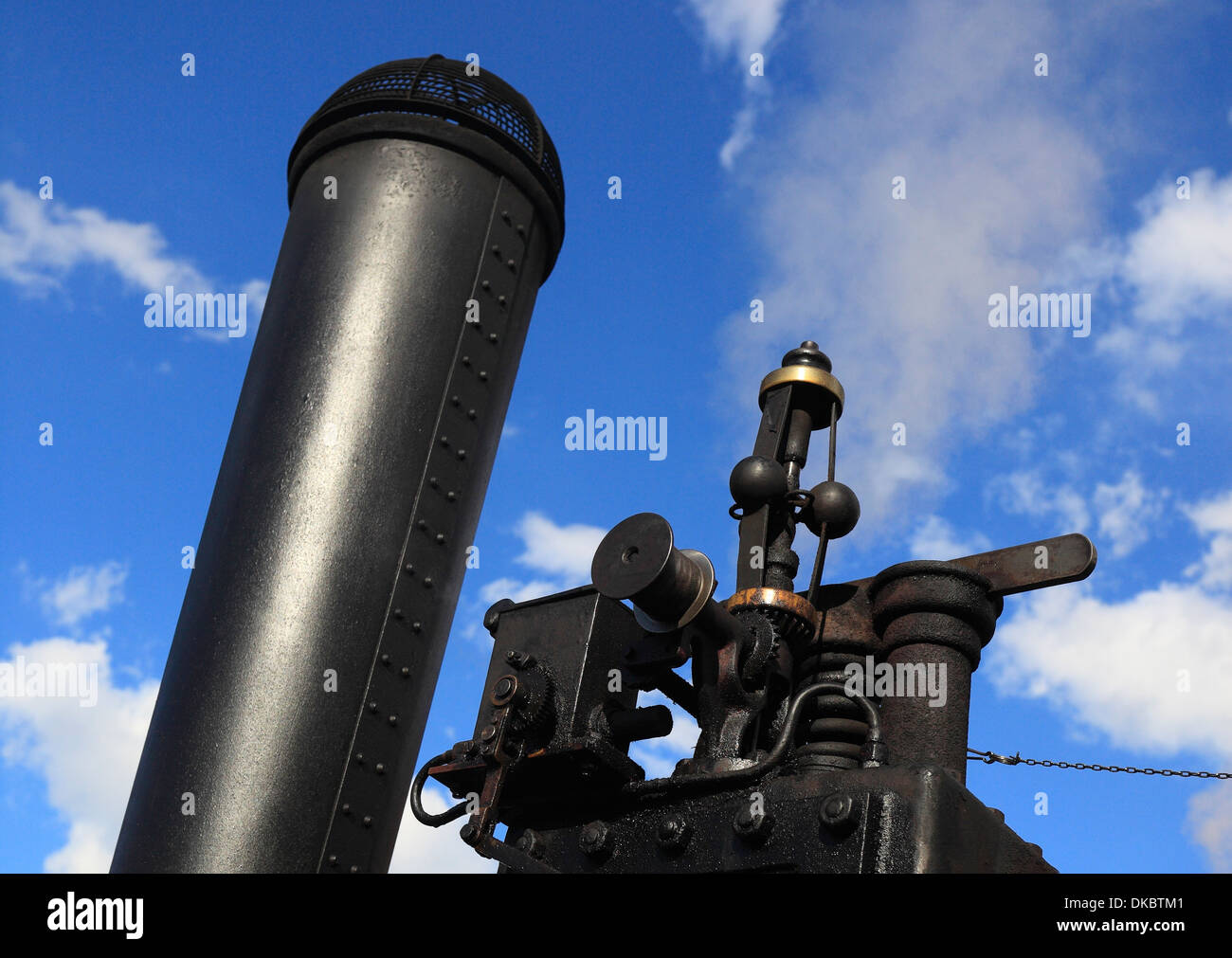 Funnel and centrifugal governor on a traction engine. - Stock Image