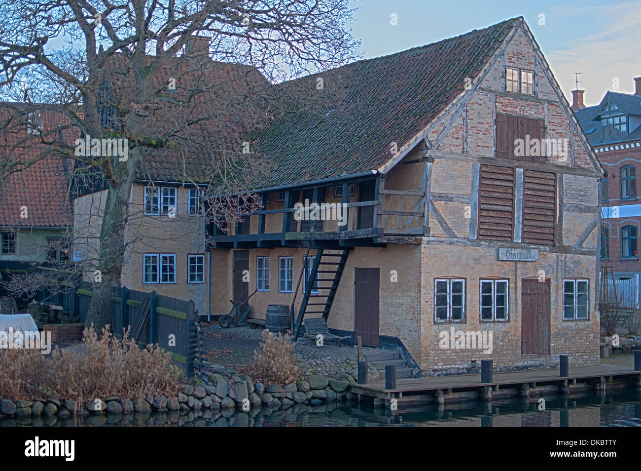 House from the town of Randers, now in the Open Air Museum called Den Gamle By, at Aarhus in Denmark - Stock Image